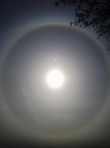 Full rainbow around the sun.